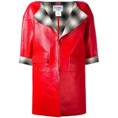 Chanel Red Leather Coat