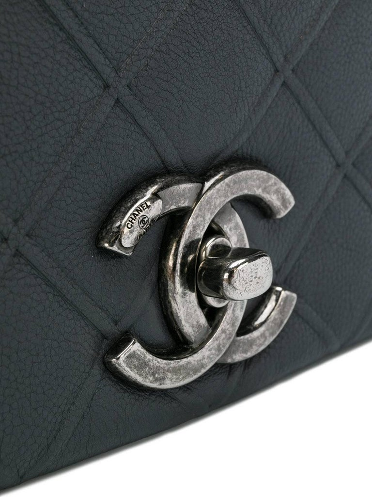 Black Chanel Two Tone Leather Flap Bag For Sale