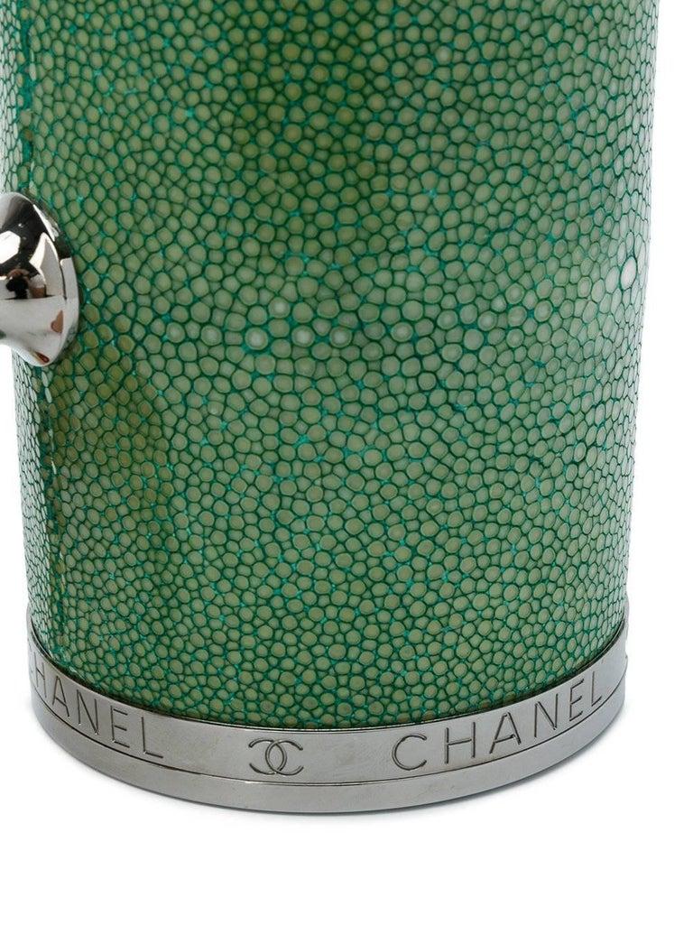 Gray Chanel Stingray Green Barrel Clutch Bag