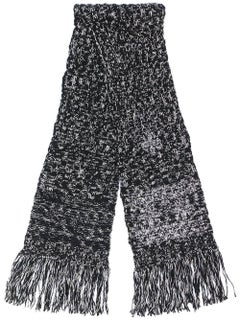 Chanel Wool Black and White Fringed Scarf