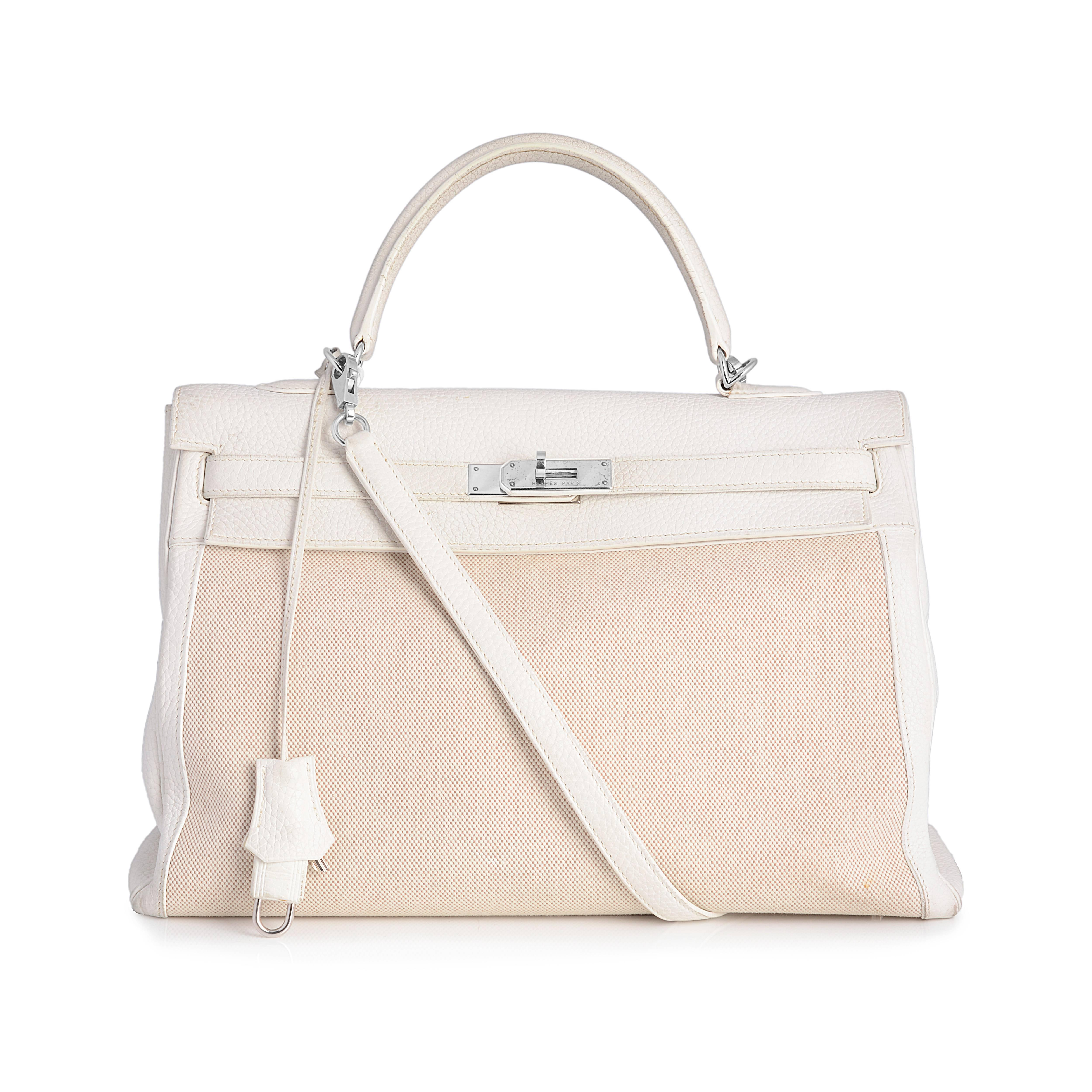 7df183569634 Hermes Kelly 35 Toile and Leather Bag at 1stdibs