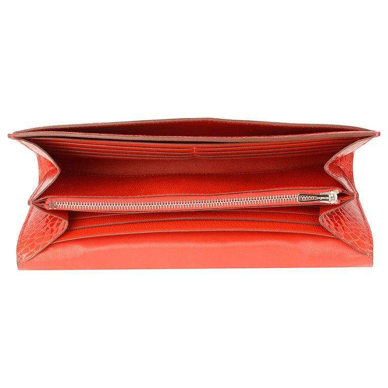 Hermès Geranium Red Alligator Constance 20cm Wallet For Sale 1