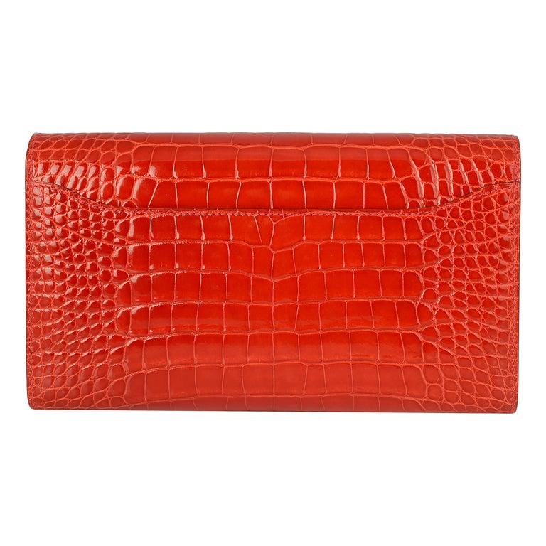 Hermès Geranium Red Alligator Constance 20cm Wallet In Excellent Condition For Sale In London, GB