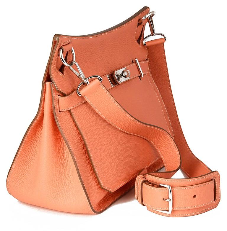 Orange Hermes Crevette Clemence Leather 34cm Jypsiere Bag For Sale