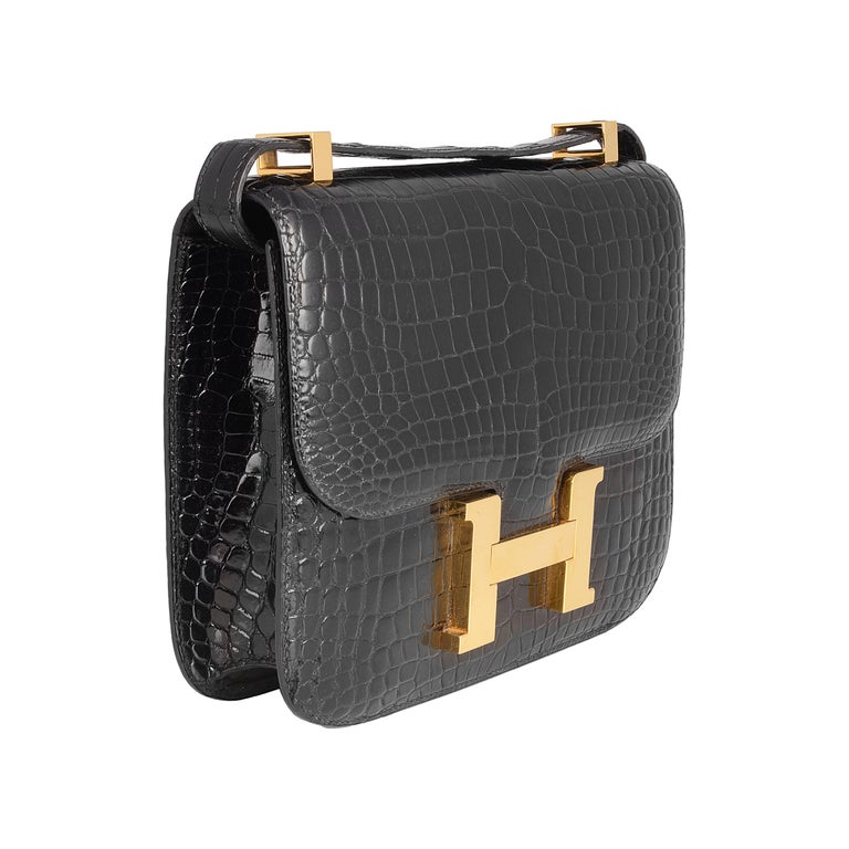 c7f0fe3b22af Hermes Black Crocodile Constance Bag For Sale. Crafted in the extremely rare  crocodile skin