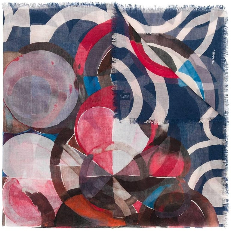 Chanel Geometric Circle Print Scarf