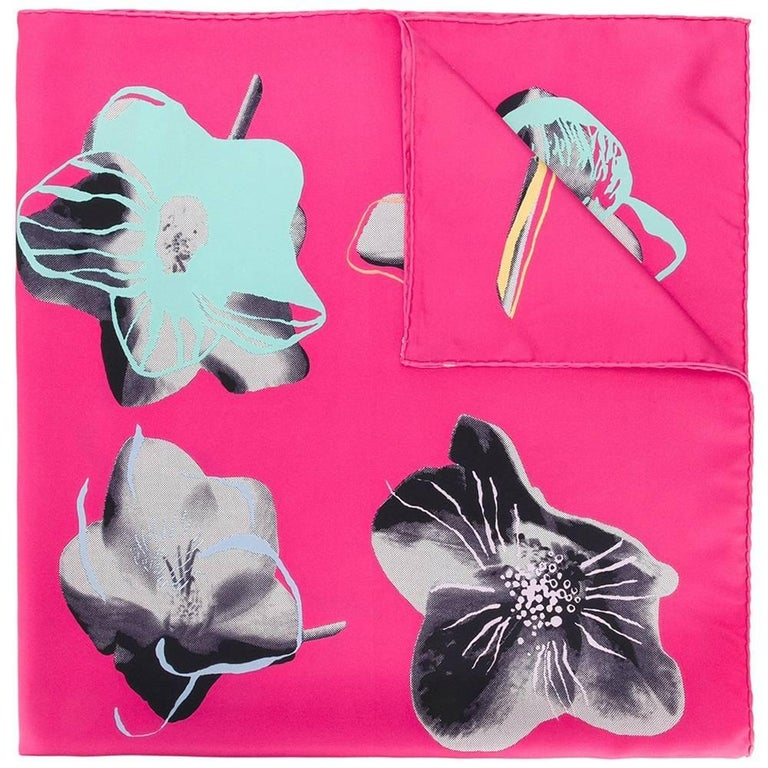 Christian Dior Bright Pink Flower Print Silk Scarf