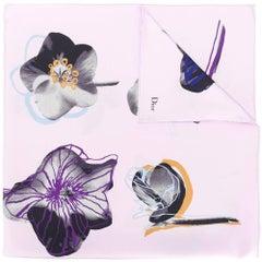 Christian Dior Flower Print Purple Silk Scarf