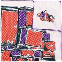 Louis Vuitton Luggage Bag Print Silk Scarf