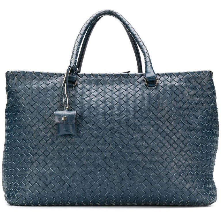 66203fe402 Bottega Veneta Navy Woven Duffle Bag at 1stdibs