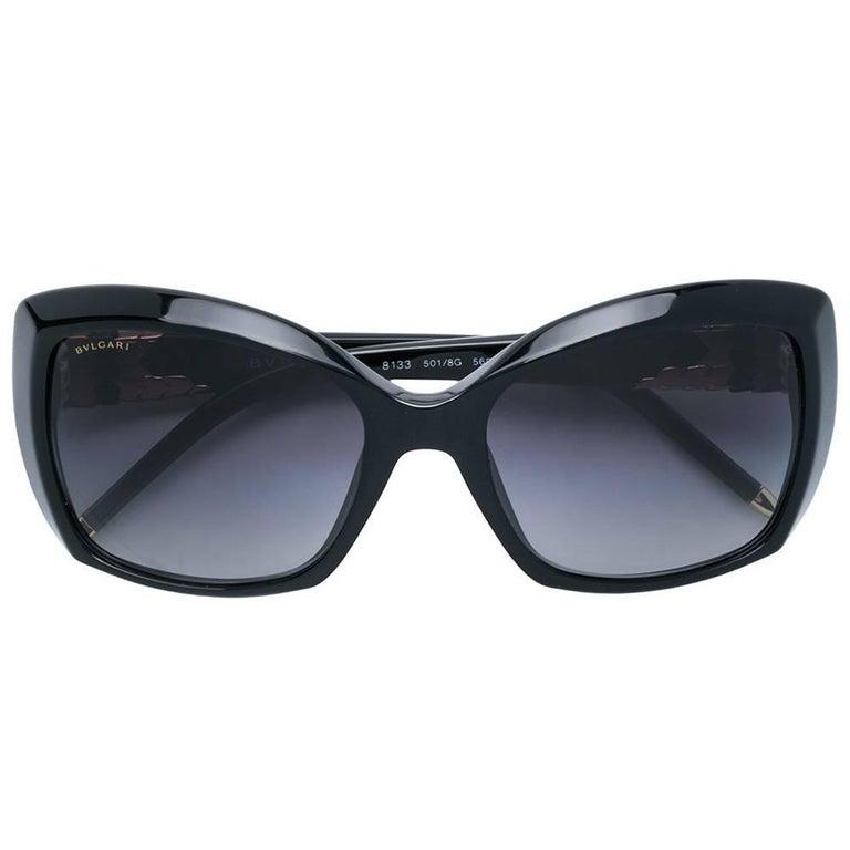 Bulgari Black Plastic Frame Sunglasses