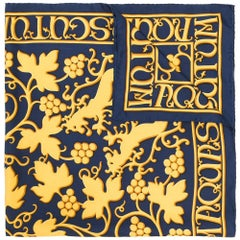 "Hermes Navy/Gold ""Grape Vine"" Print Silk Scarf"