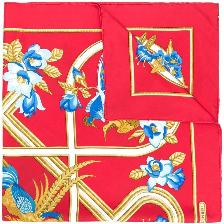 "Hermes Red ""Birds & Flowers"" Print Silk Scarf"