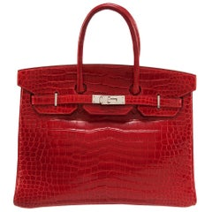 Hermes Braise Crocodile 35cm Birkin Bag