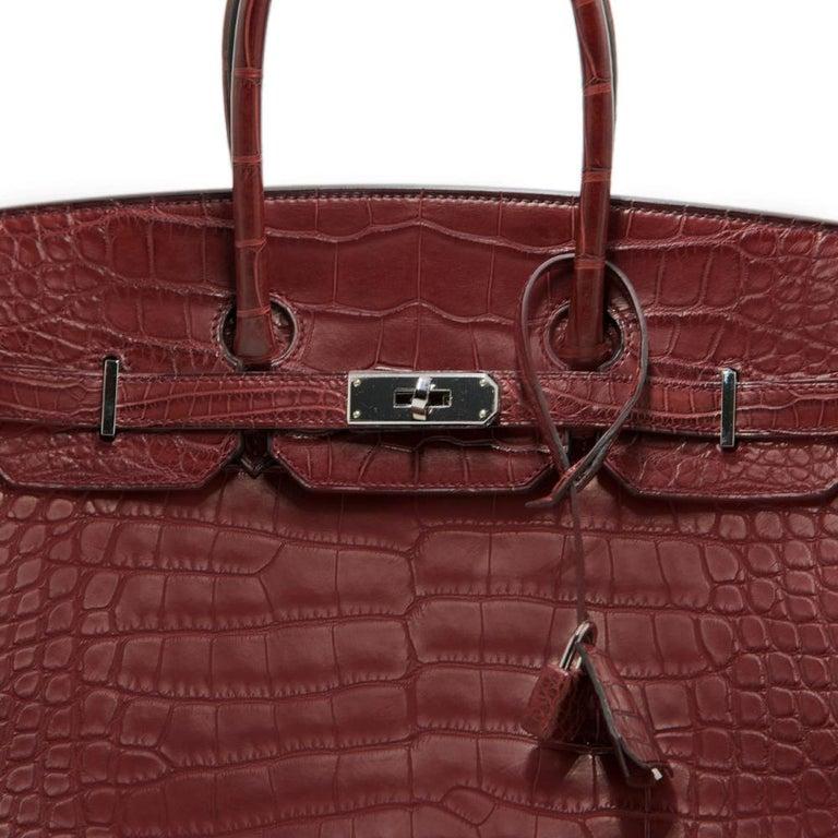 8b065a72052d Hermes Matte Alligator Bourgogne 35cm Birkin Bag at 1stdibs