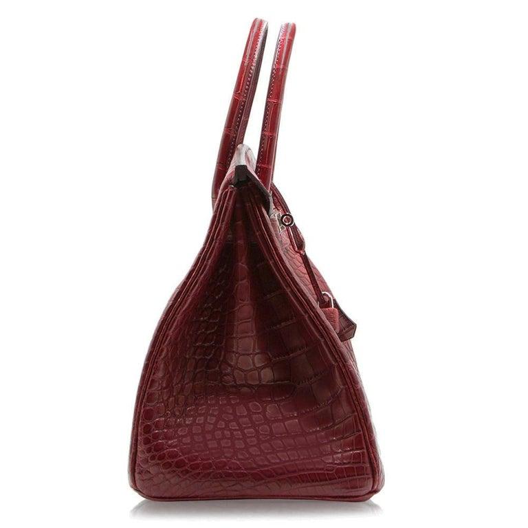1e8f08c61279 Hermes Matte Alligator Bourgogne 35cm Birkin Bag In Excellent Condition For  Sale In London