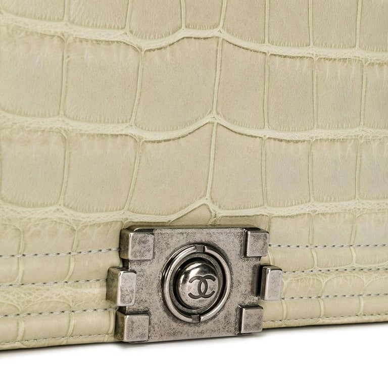 Chanel Beige Crocodile Leather Mini Boy Day Clutch In Excellent Condition For Sale In London, GB