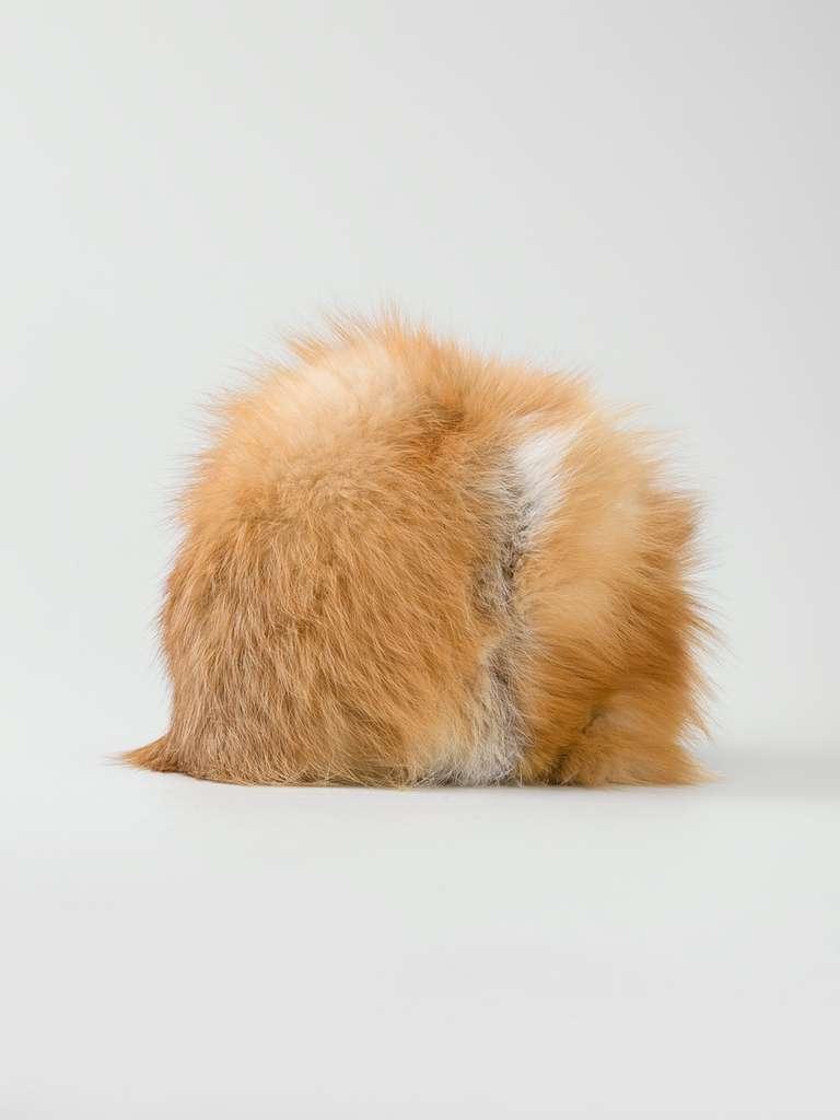 Vintage orange fox fur natural tone hat by Christian Dior.  Material: Fox Fur  Measurements: circumference: 55 centimetres