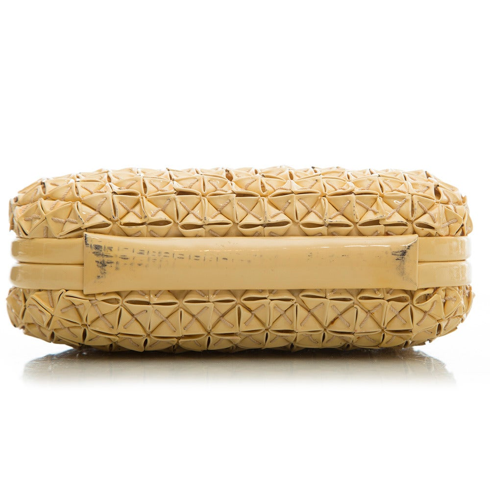 Bottega Veneta Beige PVC Clutch For Sale 2