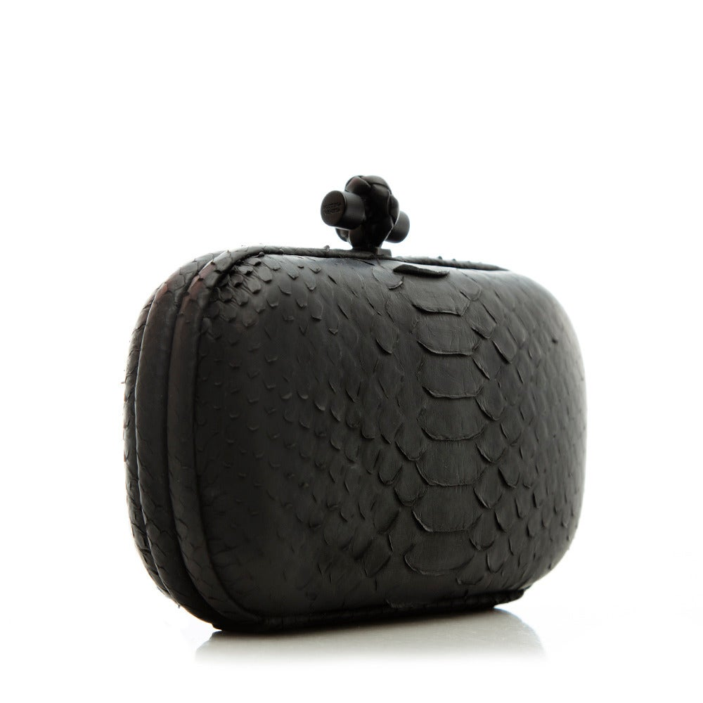 Bottega Veneta Black Python Clutch