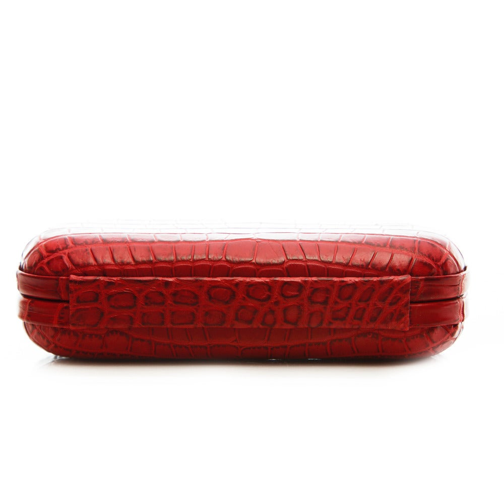 Bottega Veneta Red Crocodile Box Clutch For Sale 3
