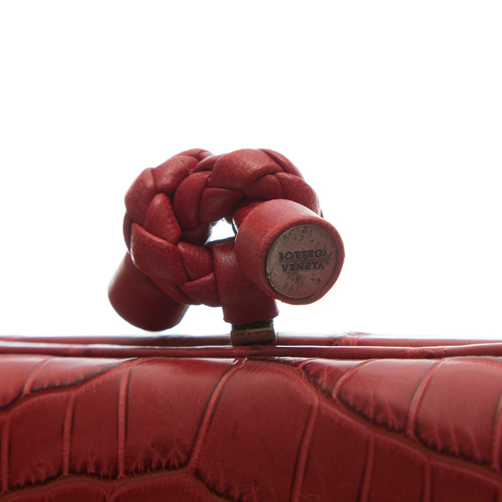 Bottega Veneta Red Crocodile Box Clutch In Excellent Condition For Sale In London, GB
