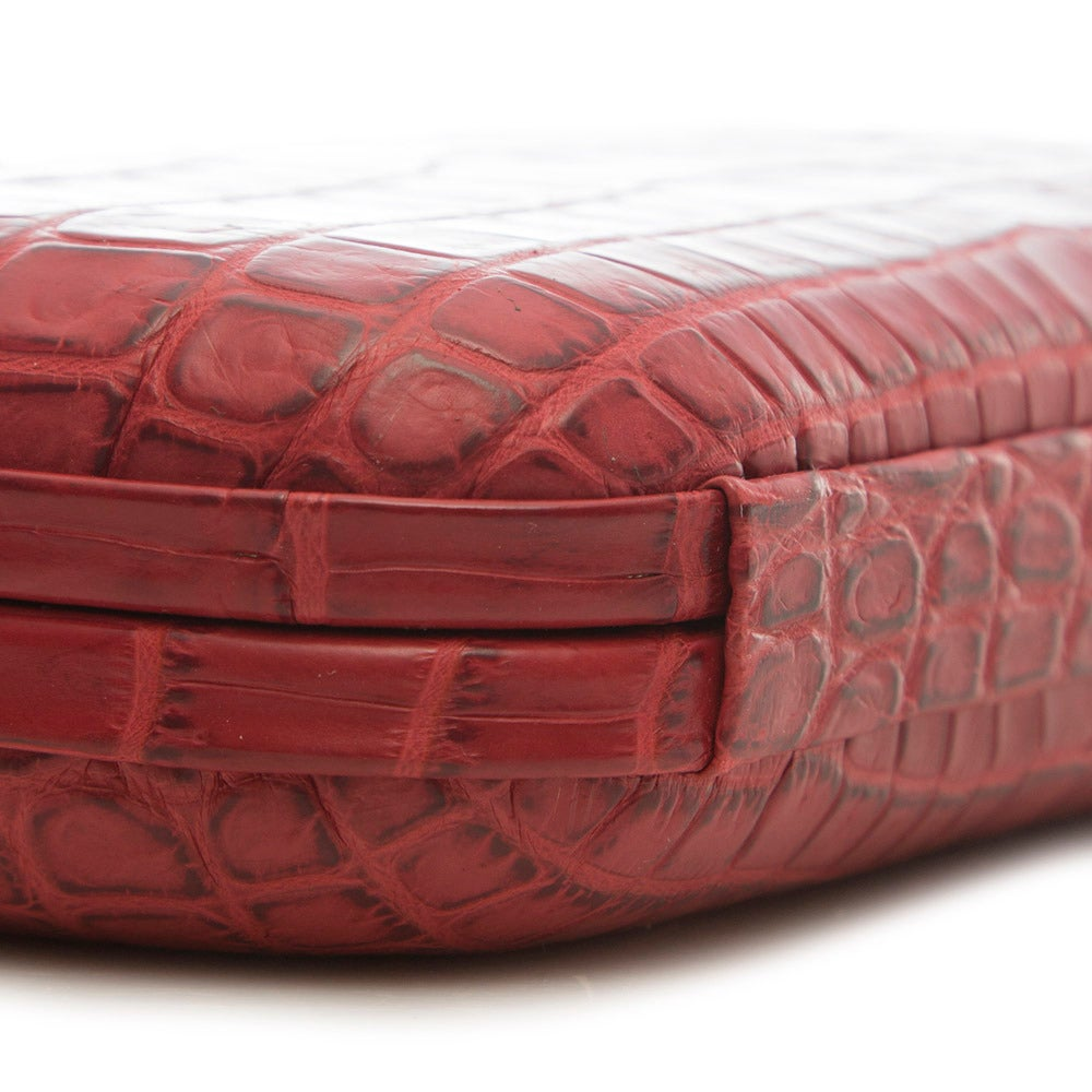 Bottega Veneta Red Crocodile Box Clutch For Sale 1