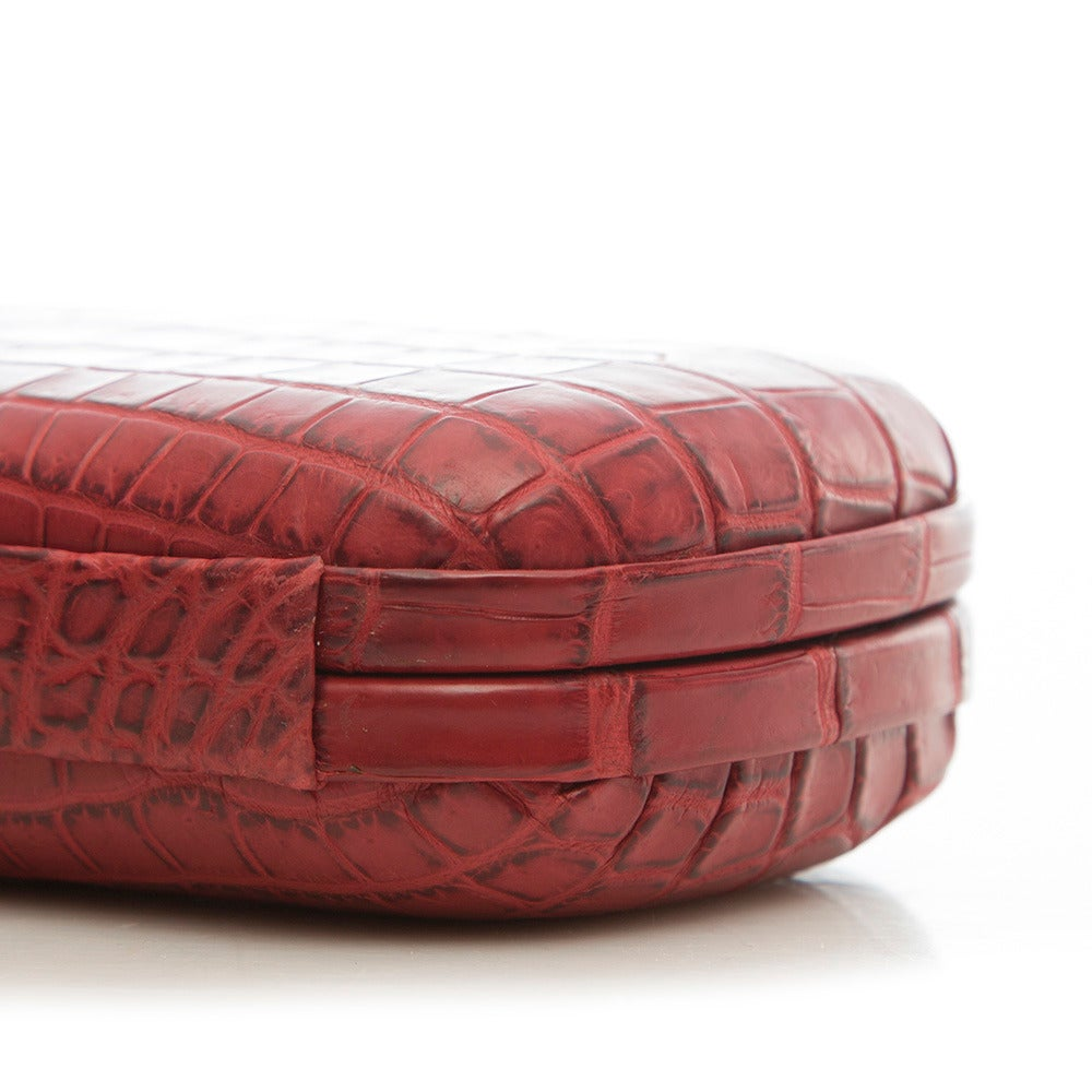 Bottega Veneta Red Crocodile Box Clutch For Sale 2