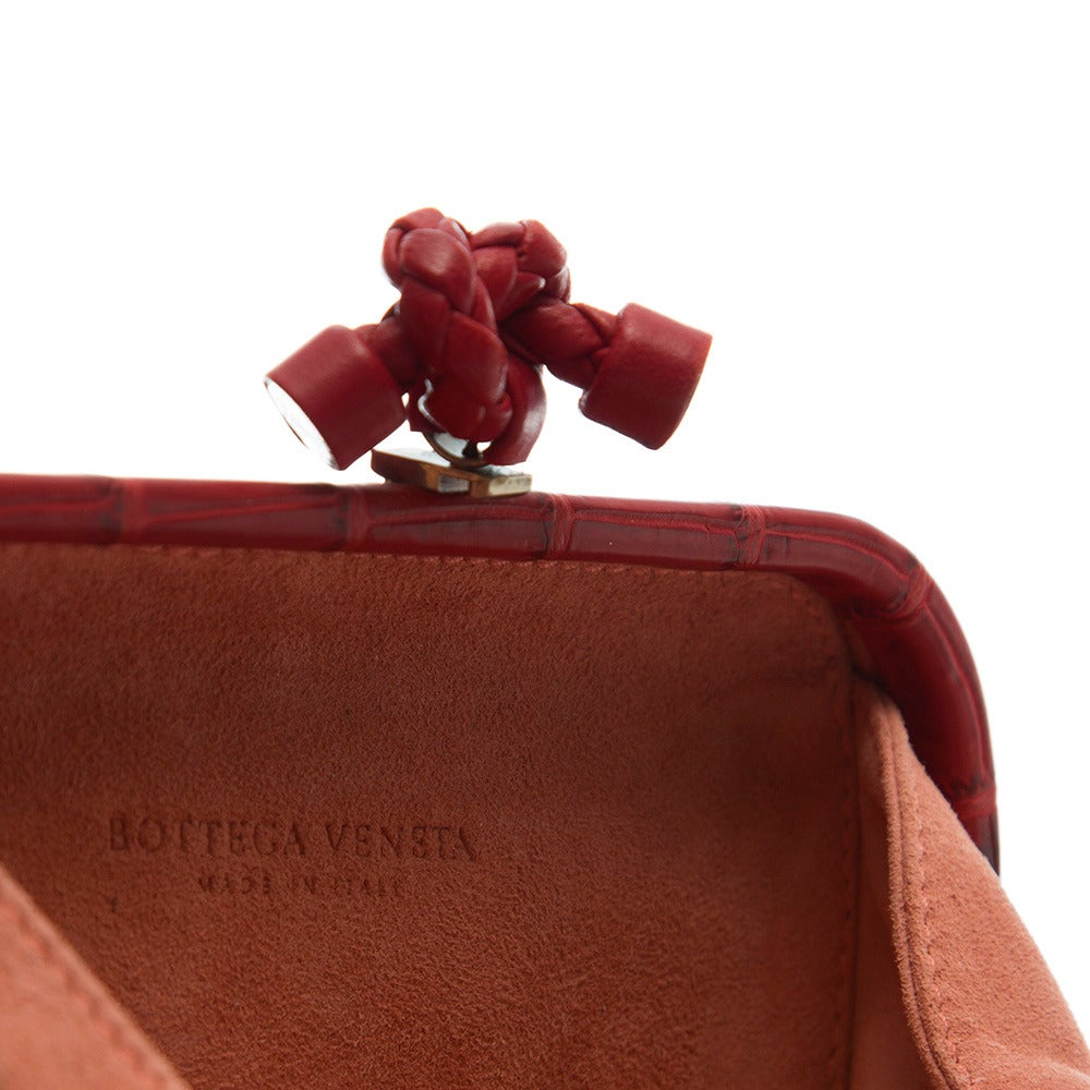 Women's Bottega Veneta Red Crocodile Box Clutch For Sale