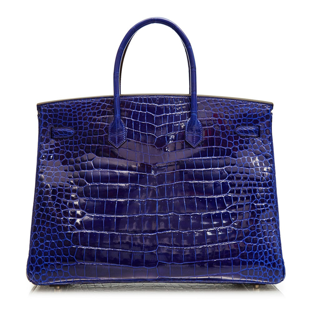 Hermès Electric Blue Porosus Crocodile Birkin 40cm RARE COLOUR -BRAND NEW In New Condition For Sale In London, GB