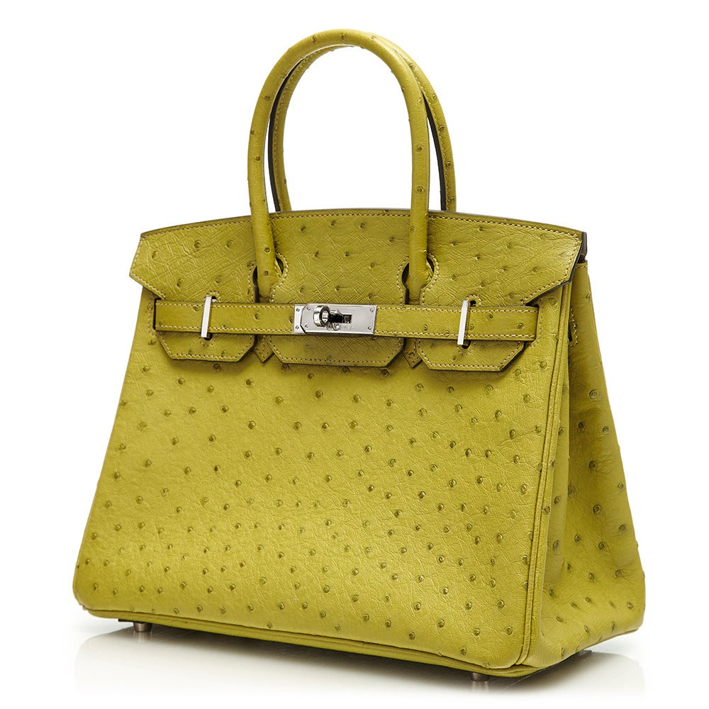 ... Bags. Hermès Lime Green Ostrich Leather Birkin 30cm For Sale. Crafted  in an eye-catching shade of green 59ef8481f2432