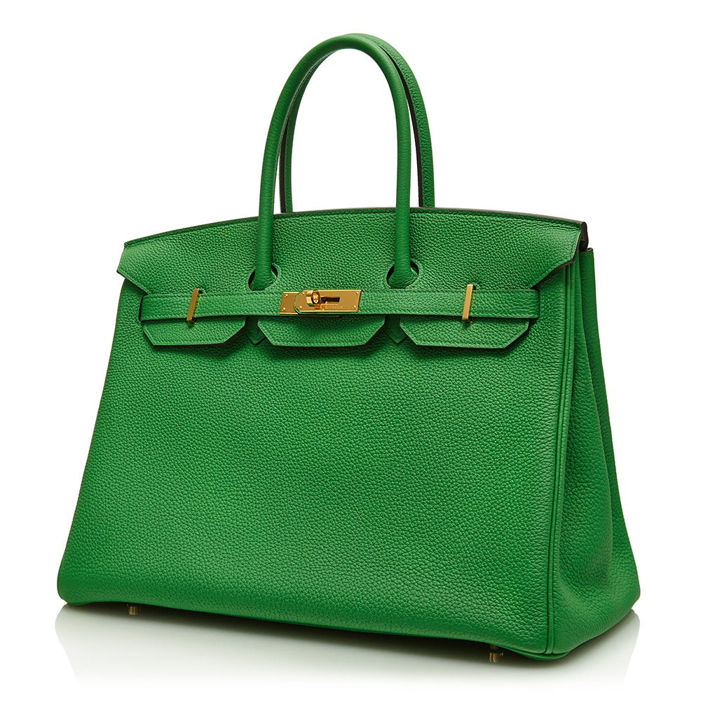 Hermès Bamboo Green Togo Leather Birkin 35cm 2