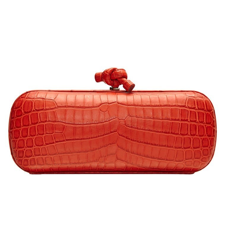 Bottega Veneta Large Croc Clutch For Sale