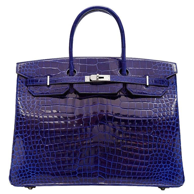 Hermès Electric Blue Porosus Crocodile Birkin 40cm RARE COLOUR -BRAND NEW For Sale