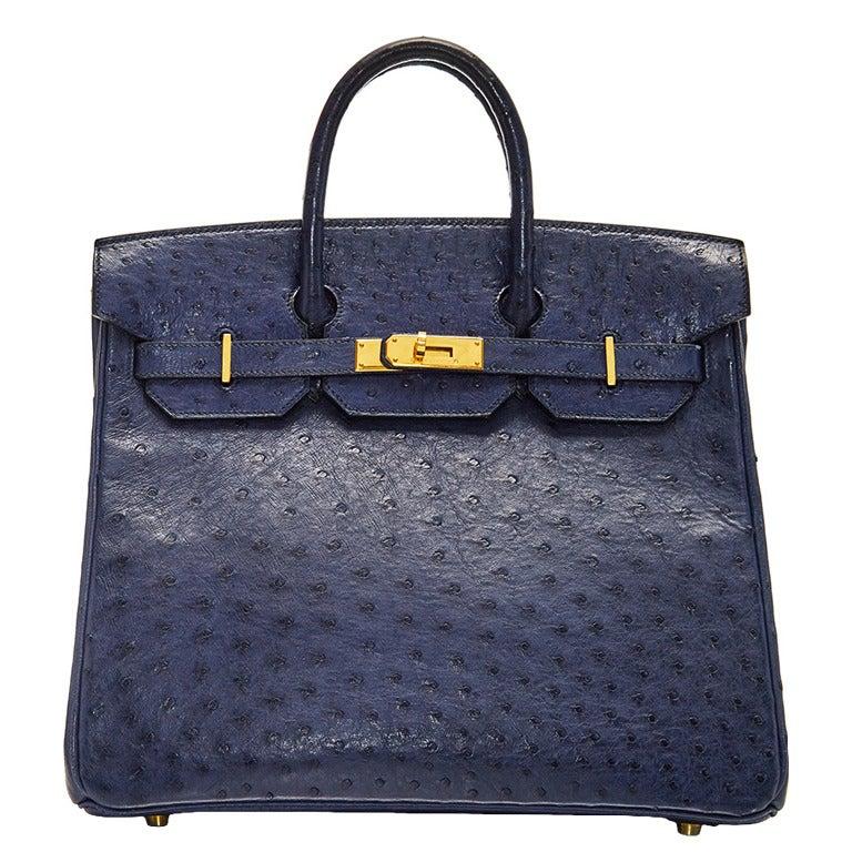 Hermès Navy Ostrich Leather HAC 32cm