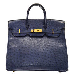 Hermès Navy Ostrich Leather HAC 32cm