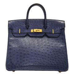 Hermès Navy Ostrich Leather HAC 32cm Birkin Bag
