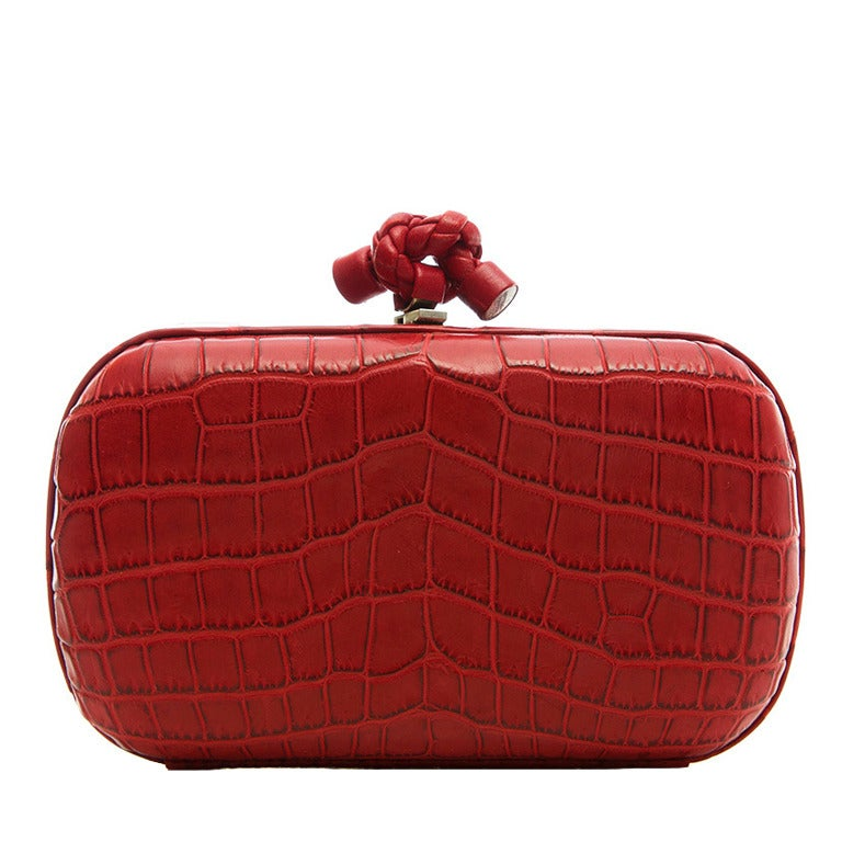 Bottega Veneta Red Crocodile Box Clutch For Sale