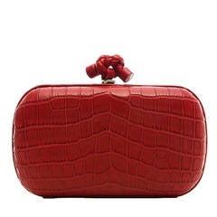 Bottega Veneta Red Crocodile Box Clutch