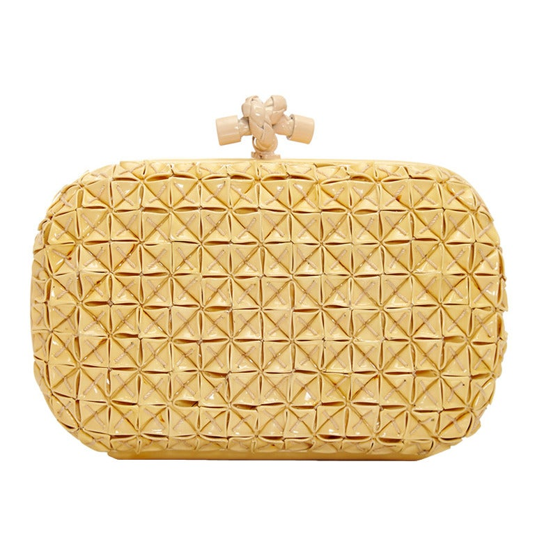Bottega Veneta Beige PVC Clutch For Sale