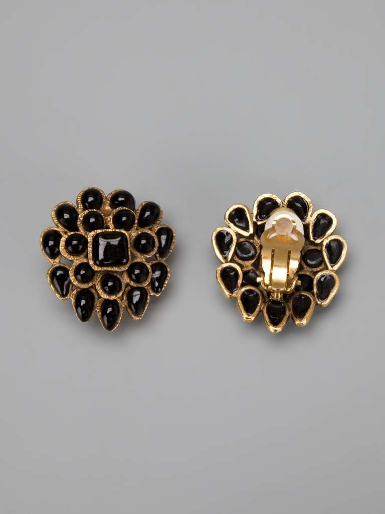 Chanel Vintage Black & Gold Earrings 2