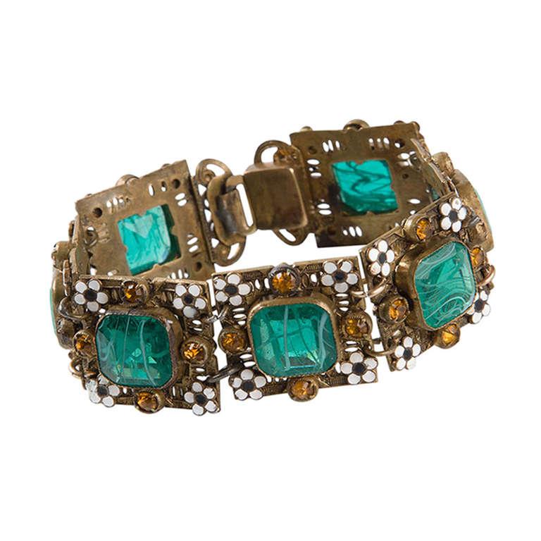 Vintage Enamel Embellished Bracelet 1