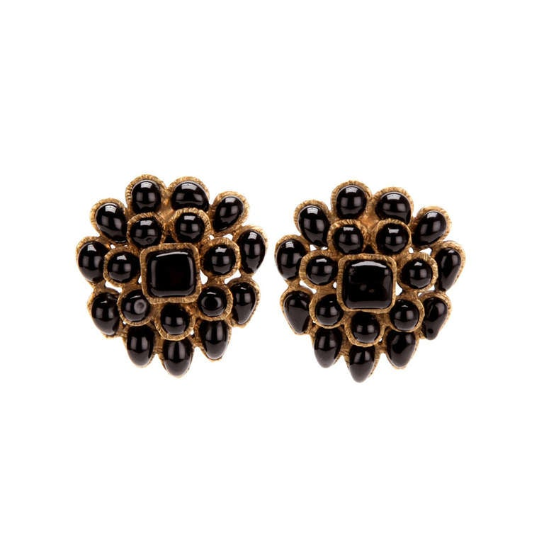 Chanel Vintage Black & Gold Earrings 1