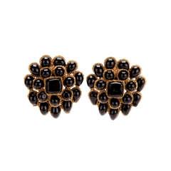 Chanel Vintage Black & Gold Earrings