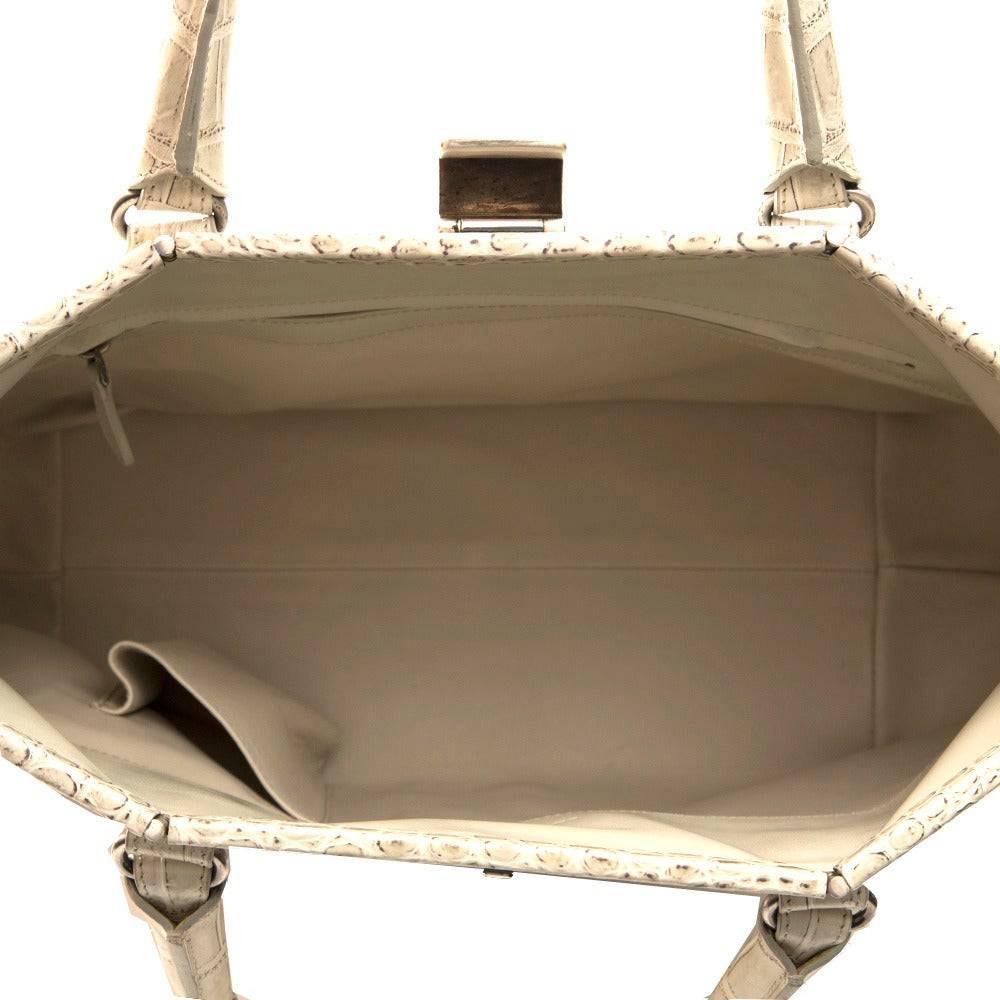 Bottega Veneta Beige Crocodile Handbag 4
