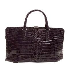 Bottega Veneta Purple Crocodile Handbag