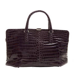 Bottega Veneta Purple Crocodile Handbag