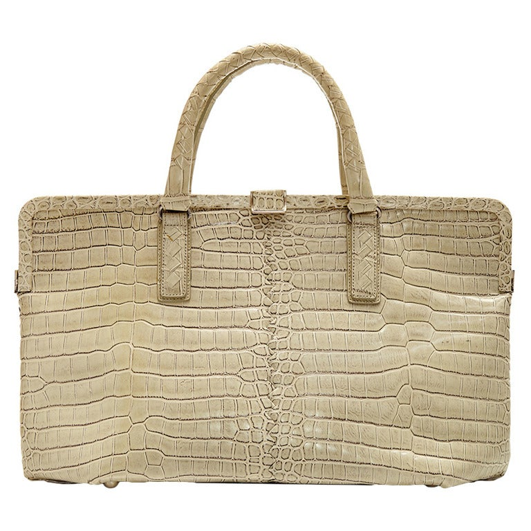Bottega Veneta Beige Crocodile Handbag 1
