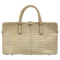 Bottega Veneta Beige Crocodile Handbag