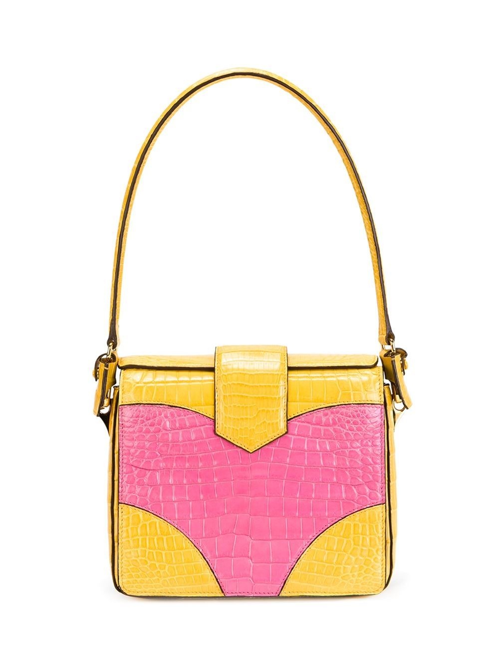 This yellow and pink crocodile leather colour block tote from Prada features foldover top with twist-lock closure, gold-tone hardware, a panelled colour block design, an internal zipped pocket, multiple interior compartments and an internal logo